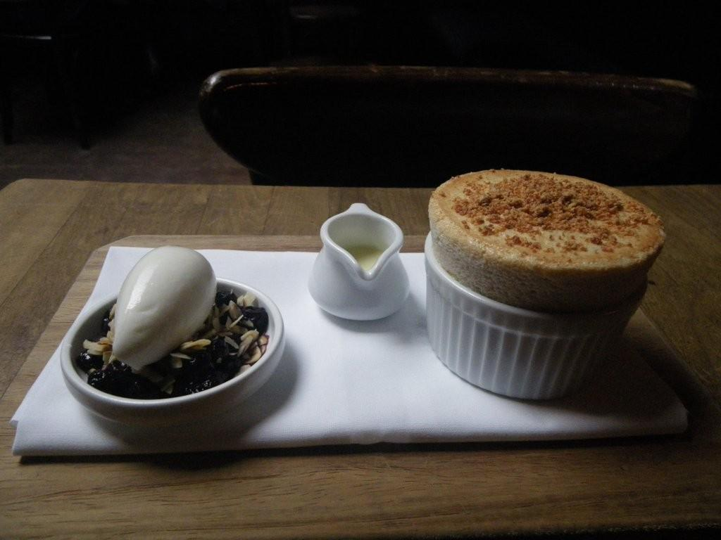 Hazelnut souffle with sliced roasted and salted blanched hazelnuts